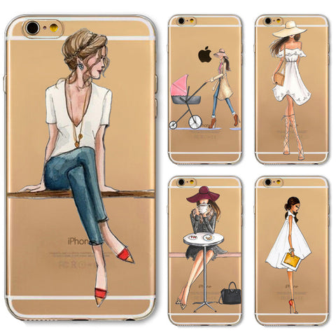 Phone Case Cover For iPhone 4s 5s SE 5c 6 6s 6plus Soft Silicon Transparent Painted Dress Shopping Girl Skin Shell Capa Celular