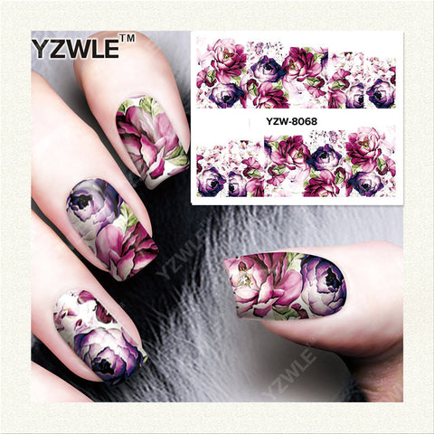 YZWLE 1 Sheet DIY Designer Water Transfer Nails Art Sticker / Nail Water Decals / Nail Stickers Accessories (YZW-8068)
