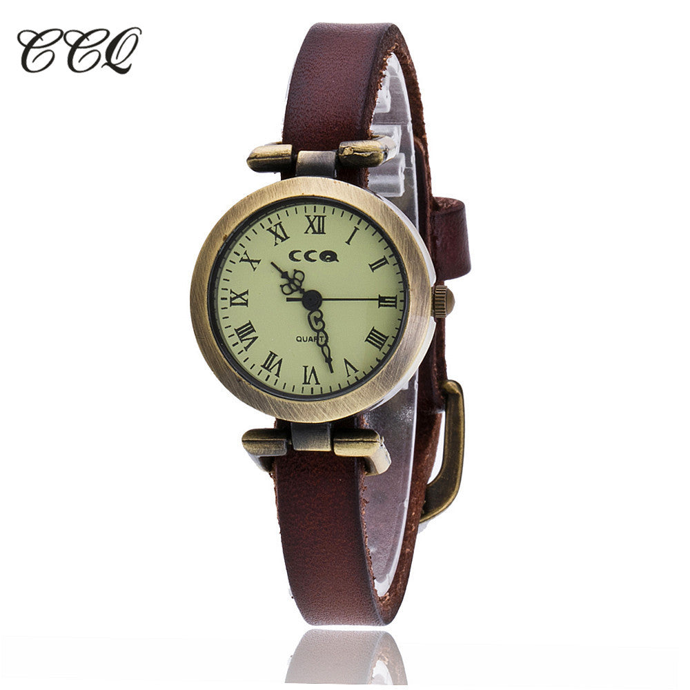 CCQ Brand Fashion Roma Vintage Cow Leather Bracelet Watch Casual Women