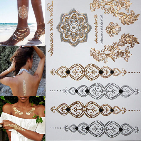 shopping new fashion flower body and I temporary henna tattoos metallic gold and silver bracelet stickers Flash tattoo art