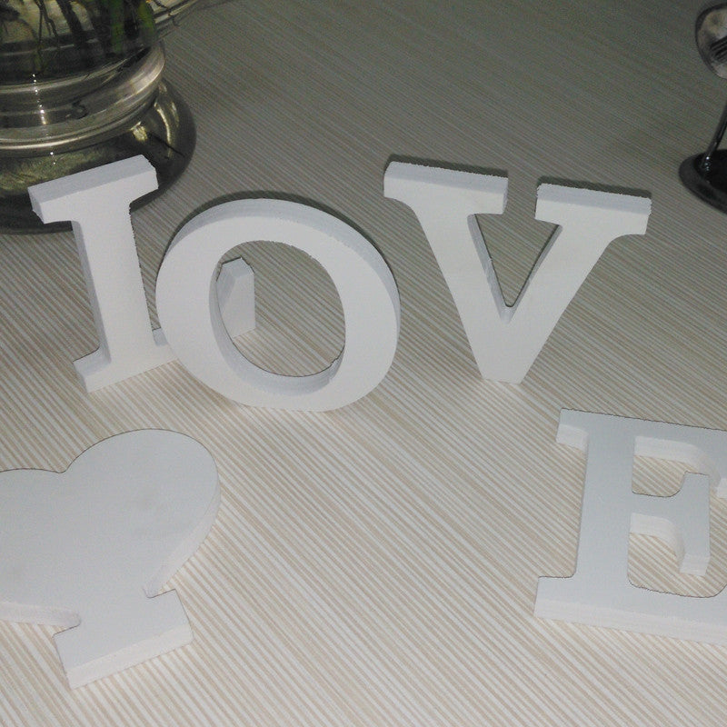 new wooden White English letters combination diy wedding love