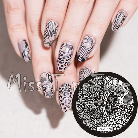 New Stamping Plate hehe76 Nail Art Template Flower Leopard Animal Zebra Lace Pattern Wild Style Stamping Transfer DIY Tool