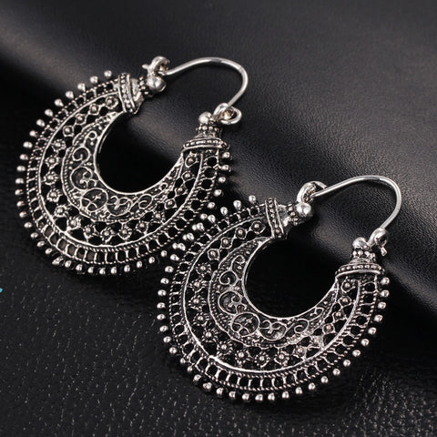 New Vintage Silver Plated Earrings For Women Style Accessories Dangle Earrings Mujer Jewelry Retro Aros Long Love Brinco