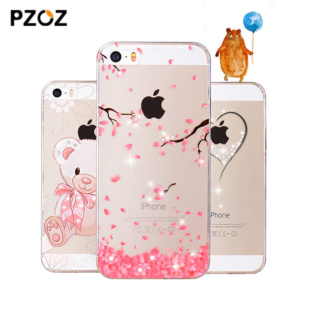 PZOZ For iphone 5se case Rhinestone glitter silicone cover original
