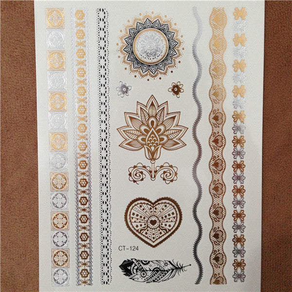 Body art painting tattoo stickers glitter gold temporary flash tatoo