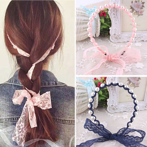 Women Headbands Lace Hair Accessories Summer Style Imitated Pearl Scrunchy Hair Bows Elastic Hair Bands Flower Hairbands