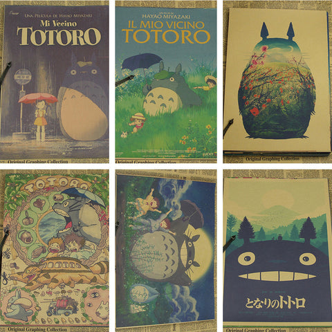 Vintage Retro Paper anime poster Tonari no Totoro Miyazaki wall decor vintage home decor kids room decoration 42*30cm