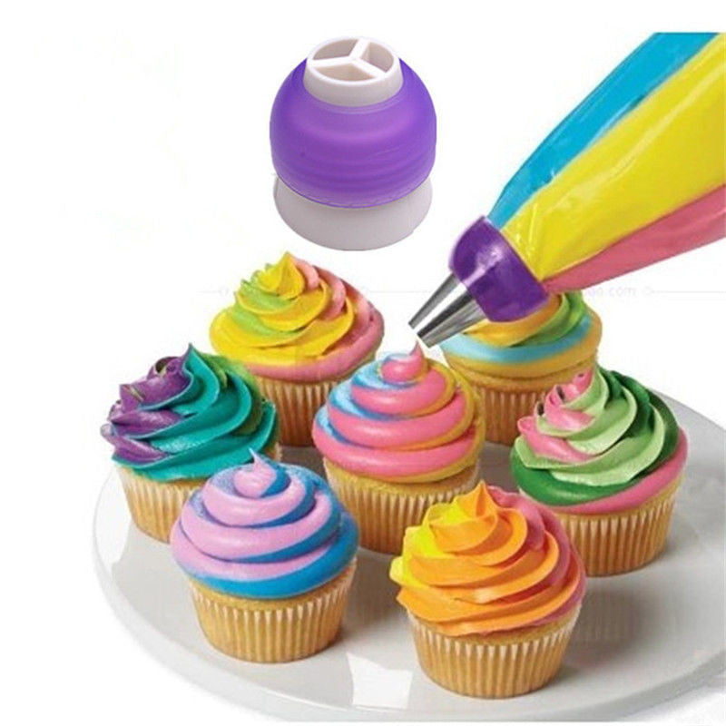 cing Piping Bag Nozzle Converter Tri-color Cream Coupler Cake