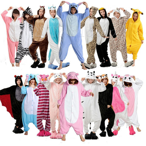 Winter Unisex Adult Pajamas Cosplay Costume Animal Onesie Sleepwear Stitch Zebra Panda Totoro Bear Bat Unicorn Tenma Pig Pikachu