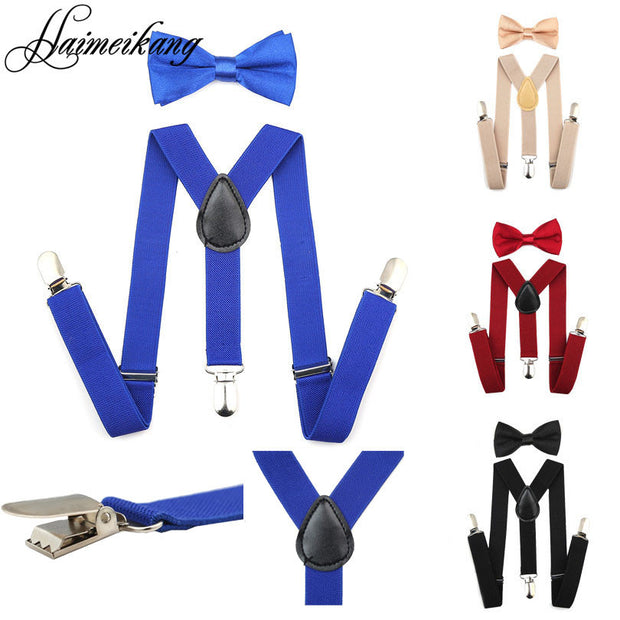 Suspenders and Bow Tie Set Braces Elastic Y-back for Baby Kids Red