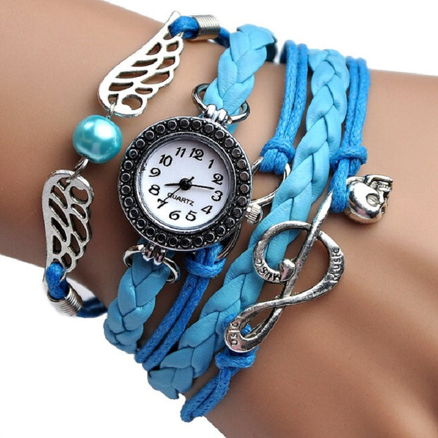 NEW fashion Angel Wings MUSIC Bracelet Watch women Parcords PU leather