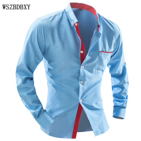 Brand Dress Shirts Mens Polka Dot Shirt Slim Fit Male Shirts Long sleeve Men Shirt Heren Hemden Slim Camisa Masculina