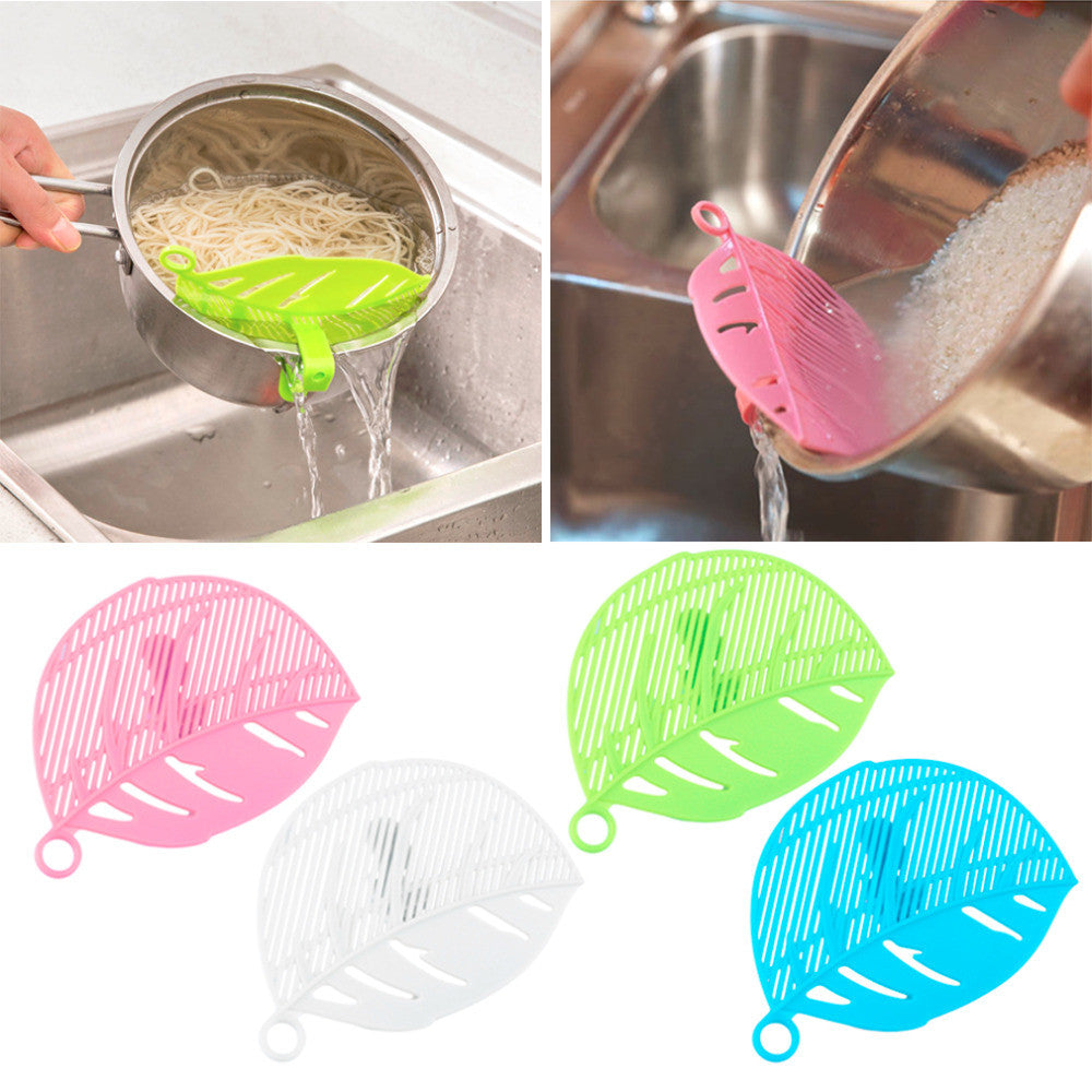 Hot Sale 1PC Durable Clean Leaf Shape Rice Strainer Sieve Beans Peas
