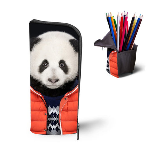 Cute Vintage Panda Print Makeup Bag Woman School Pencil Bag Fashion Girls Make Up Cosmetic Bag Big Boys Girls Pen Case