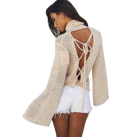 Casual Sexy Women Backless Lace Up Sweater Pullovers Autumn Turtleneck Jumpers Loose Long Sleeve Slim Shirts Poncho Pull Femme