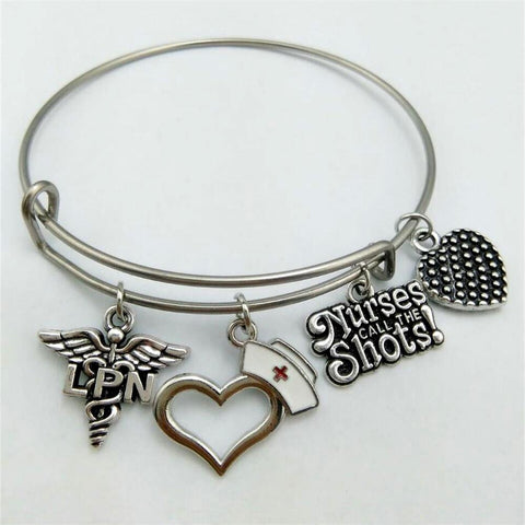 Licensed Practical Nurse LPN Antique Silver Plated Charms Stainless Steel Adjustable Wire Bangle With Nurses Call The Shots!