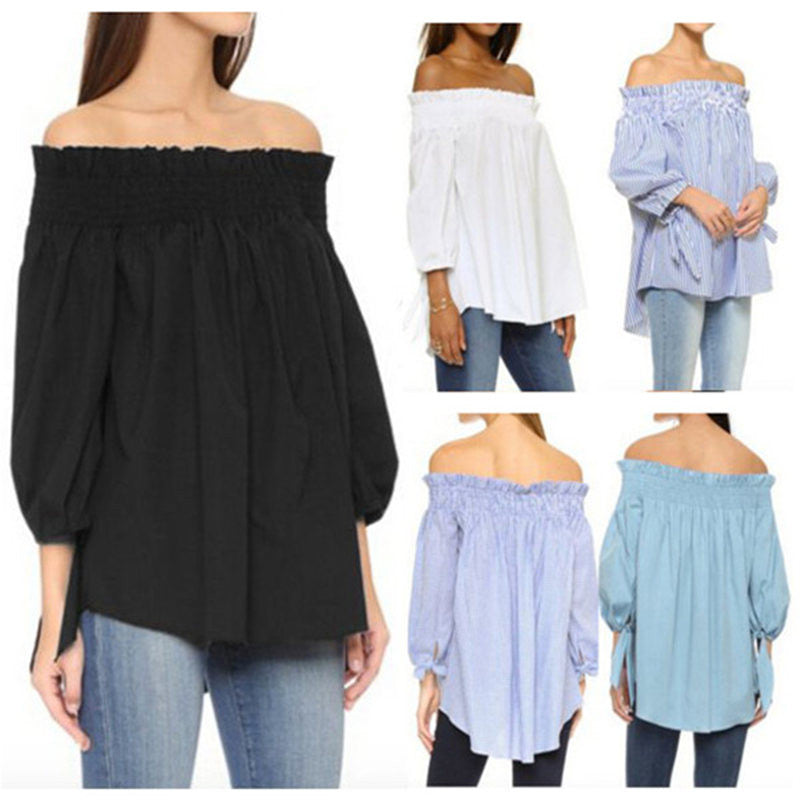 New Summer Women Sexy Off Shoulder Slash Neck Blouse Shirts Casual 3/4