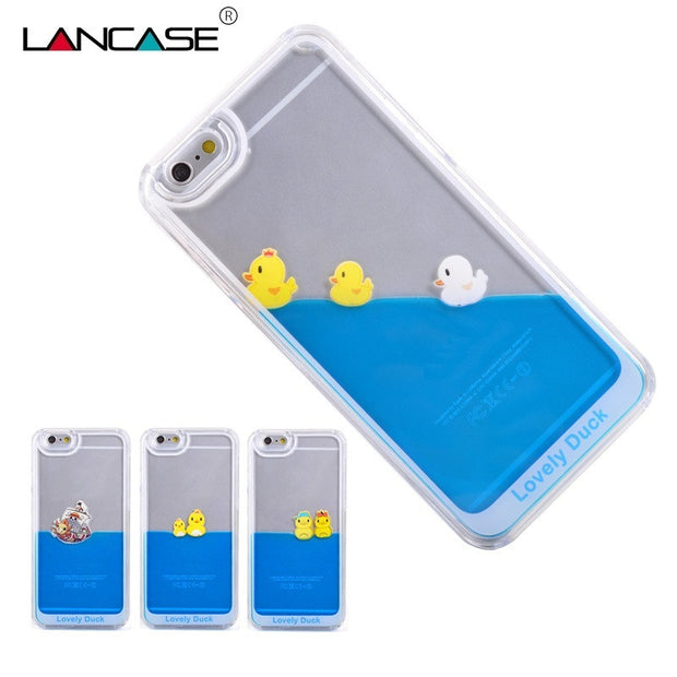 For iPhone 5S Case Flowing Liquid Swimming Duck Transparent Hard