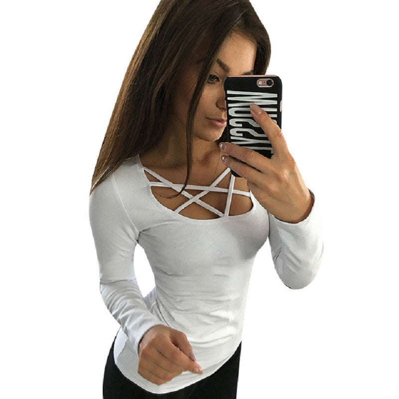Women Hoodies Long Sleeve Tops Hollow Out Bandage Pullovers Slim