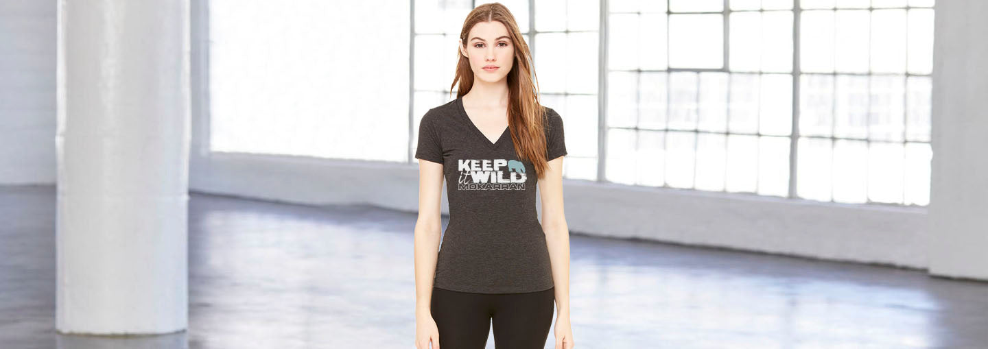 V-neck T-shirts for female polar bear keep it wild
