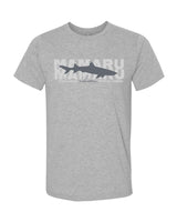 t-shirt gris chiné requin corail