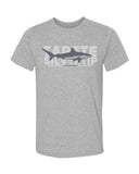 gray marl t-shirt shark fins white reef