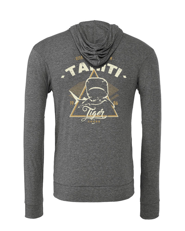 sweat shirts plongée requin tigre tahiti gris