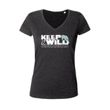 V-neck t-shirts for women polar bear keep it wild black