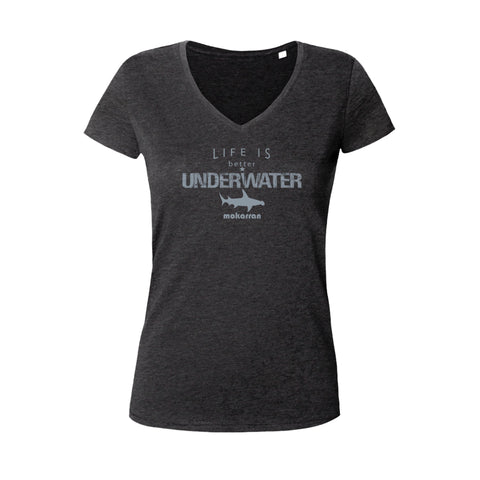 Tee shirts à col V pour femme life is better underwater noir
