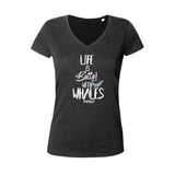 Dark gray diving t-shirt for woman life is better with whale black