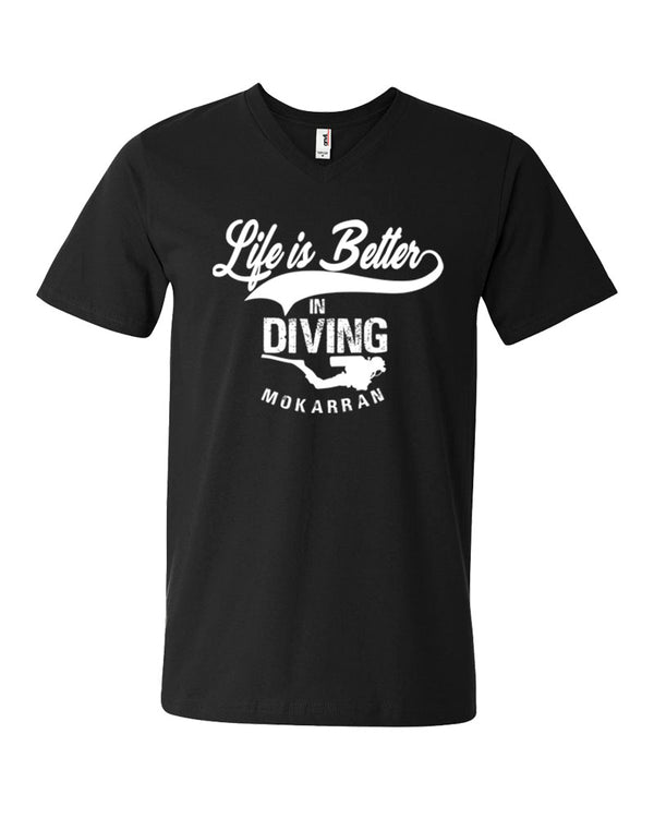 Tee shirt plongée col v homme life is better in diving noir