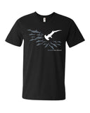 Men's v-neck diving t-shirt black hammerhead