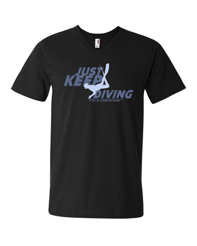 Tee shirt plongée col v homme just keep diving noir