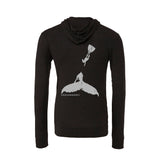 Humpback whale and charcoal diver men's light zip and hooded diving sweatshirts