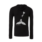 Humpback whale and diver men's light zip and hooded diving sweatshirts - black