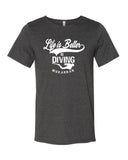 Tee shirt plongée gris foncé pour homme life is better in diving