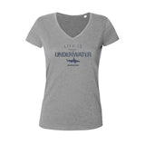 Tee shirts à col V pour femme life is better underwater gris