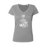Dark gray diving t-shirt for women life is better with whale gray