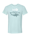 Ice blue hammerhead shark diving t-shirts