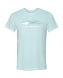Ice blue shark in motion diving t-shirt