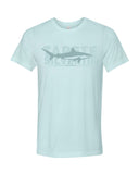 ice blue shark fin white reef t-shirt