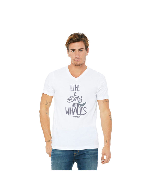 T-shirt col V Life is Better with Whales