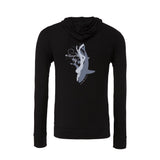 Women's black shark and diver diving hoodie and zip sweatshirt