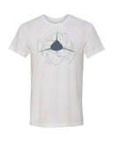 White oceanic shark diver t-shirt with white tips