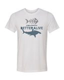 White hammerhead shark diving t-shirts