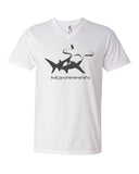 V-neck diving t-shirts for men white hammerhead shark