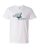 Tee shirt plongée col v homme just keep diving blanc