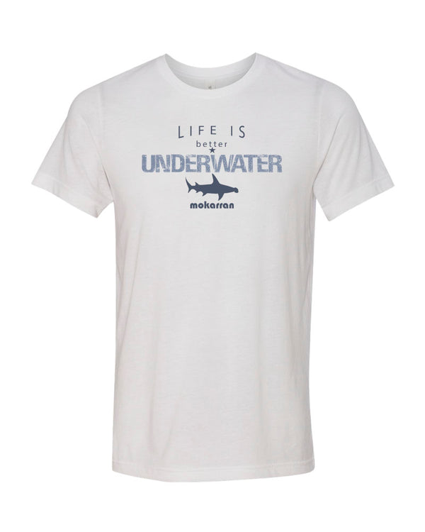 Tee shirt plongée blanc requin pour homme Life is Better Underwater