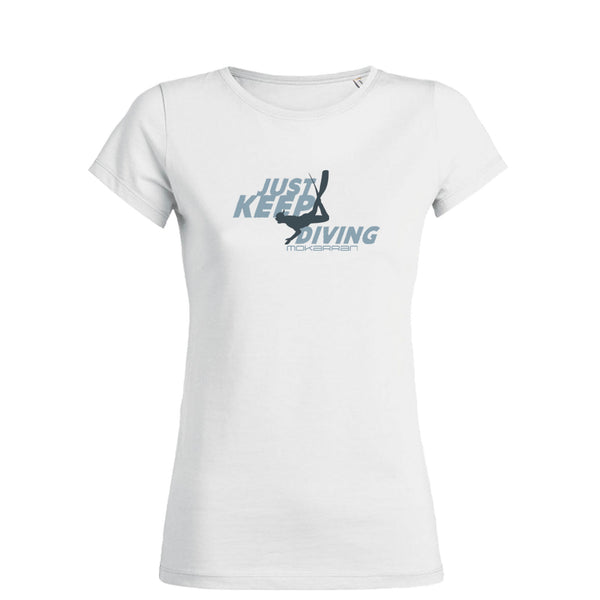 Tee shirt plongée à col rond pour femme just keep diving blanc