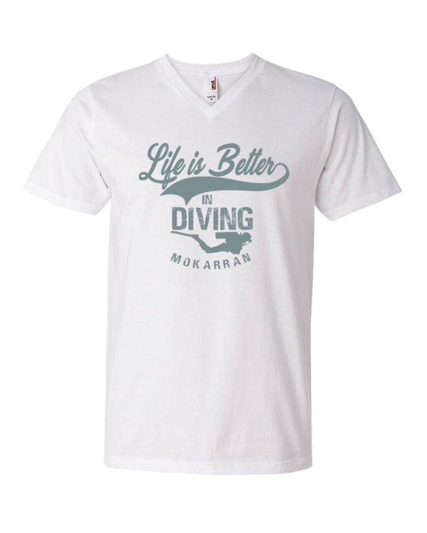 Tee shirt plongée col v homme life is better in diving blanc